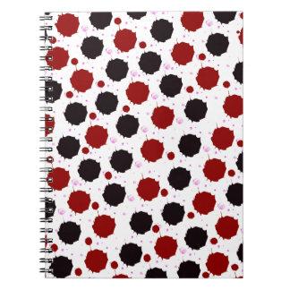 Rot-und Schwarz-Spritzen-Punkte Spiral Notizblock