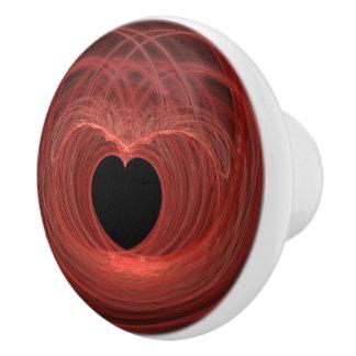 Rot und Schwarzes wanden sich Herz-Grafik Keramikknauf