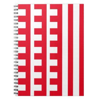 Rot und Weiß kämmt Zahn Spiral Notizblock