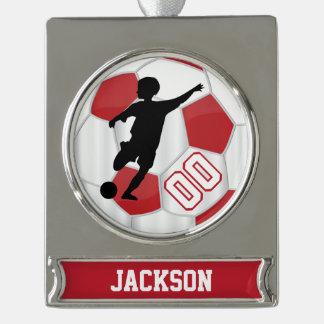 Rot und Weiß personifiziert Jungen-Fußball-Spieler Banner-Ornament Silber
