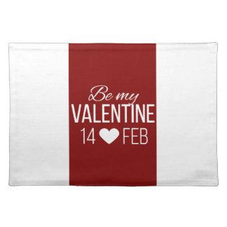 Rot und Weiß seien Sie mein Valentinsgruß-Herz Stofftischset