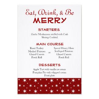 Rot-und Weiß-Stern-Weihnachtsmenü 12,7 X 17,8 Cm Einladungskarte