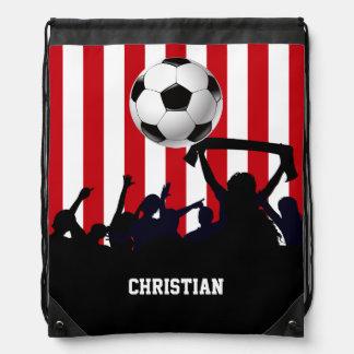 Rot und Weiß stripes Fußballfans und Fußball Sportbeutel