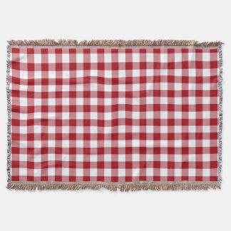 Rot und Weiß überprüftes Gingham-Muster Decke