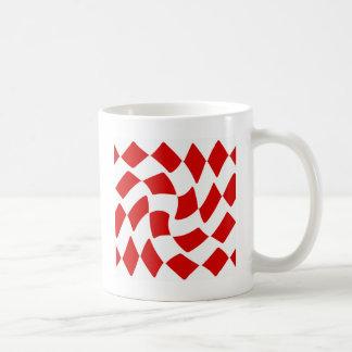 Rot-und Weiß-Verzerrungs-Schachbrett Kaffeetasse