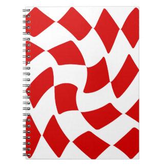 Rot-und Weiß-Verzerrungs-Schachbrett Spiral Notizblock