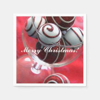 Rot und Weiß verziert frohe Weihnachten Papierserviette