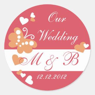 Rot unser Hochzeits-Monogramm-Aufkleber