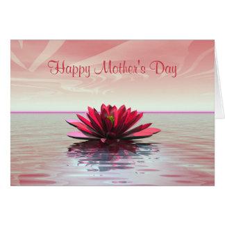 Rot-Wasser-Lilie der Mutter Tages Karte