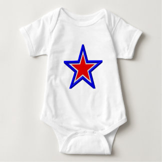 Rot-, weiße und Blau Staplungssterne Baby Strampler