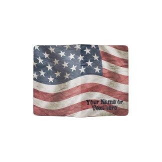Rot-, weiße und Blauealte Ruhm US-Flagge Passhülle