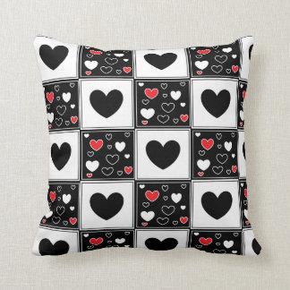 Red, White Black Love Heart Pillow