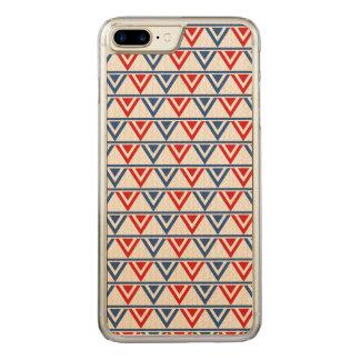 Rot-, weißes und Blauespatriotisches geometrisches Carved iPhone 8 Plus/7 Plus Hülle