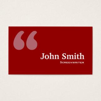 Rot zitiert Drehbuchautor-Visitenkarte Visitenkarten