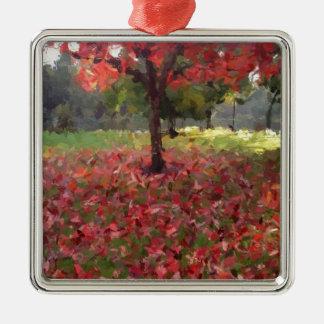 Rotahorn-Baum-Fotografie Quadratisches Silberfarbenes Ornament