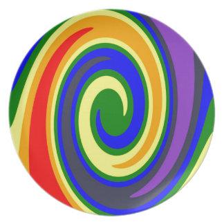 Rotation bewegt Regenbogen von Farben, ROYGBIV Melaminteller