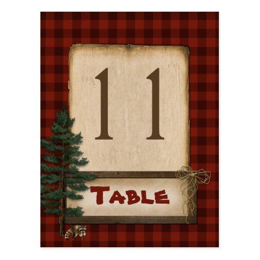 Rotbraune karierte Campings-Tischnummer-Postkarte
