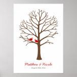 Rotbraune Vogel-Fingerabdruck-Baum-Hochzeit Plakate