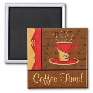 Rotbrauner Goldespresso-Kaffee-Kunst-individueller Quadratischer Magnet