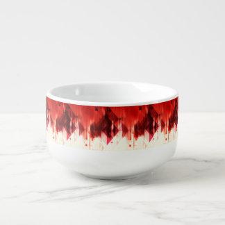 Rotbraunes und weißes geometrisches Muster Große Suppentasse