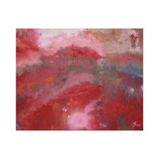 """""""Rote abstrakte #5 """" Leinwanddruck"""