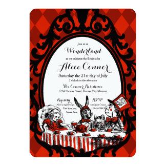 Rote Alice im Wunderland-Duschen-Einladungen 12,7 X 17,8 Cm Einladungskarte
