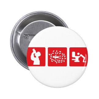 rote Alkoholbildikone Runder Button 5,1 Cm