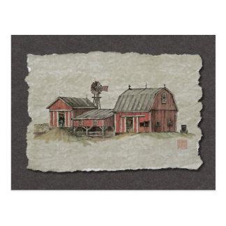 Rote amische Scheune u. Windmühle Postkarte