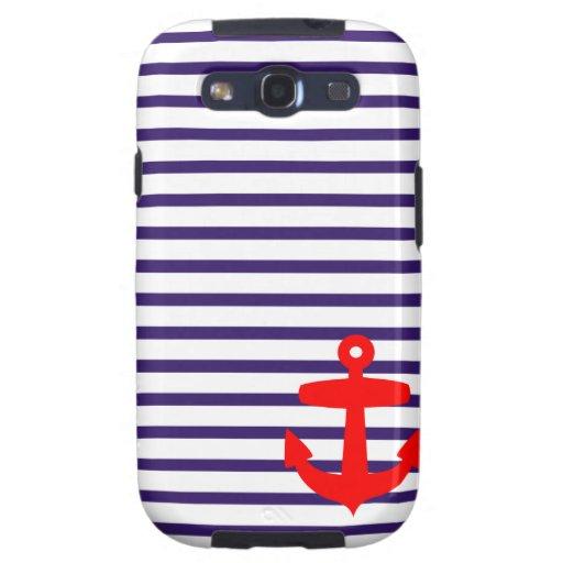 Rote Anker-und Marine-Blau-Seemann-Streifen Samsung Galaxy S3 Etui