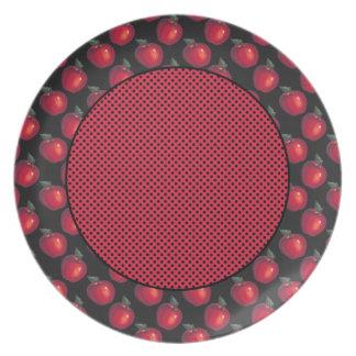 Rote Apfel-schwarze Flecken Teller