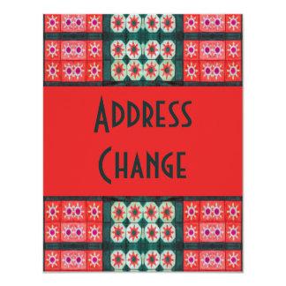 Rote aquamarine Fliesen-Adressen-Änderung Einladungskarte