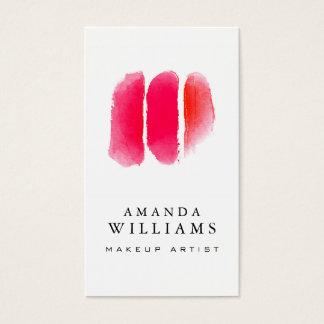 Rote Aquarell-Maskenbildner-Muster Visitenkarte