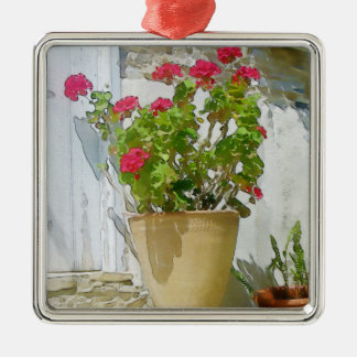 Rote Aquarellpelargonie Silbernes Ornament