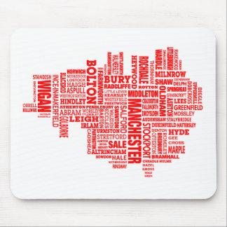 Rote Art Karte von größerem Manchester Mousepad