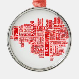 Rote Art Karte von größerem Manchester Silbernes Ornament