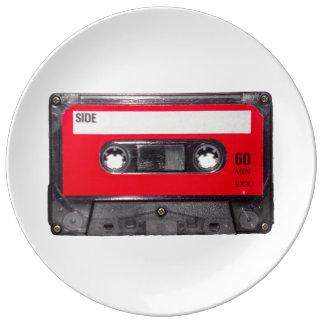 Rote Aufkleber-Kassette Teller Aus Porzellan