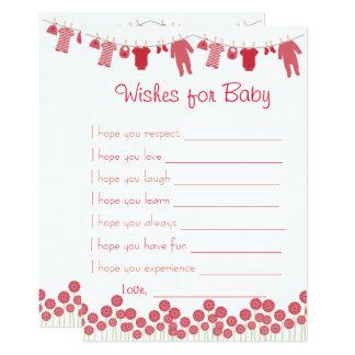 Rote Babyparty-Wünsche für Baby-Spiel Karte