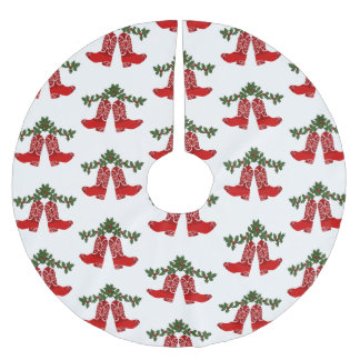 Rote Bandana-Druck-Cowboystiefel mit Girlande Polyester Weihnachtsbaumdecke