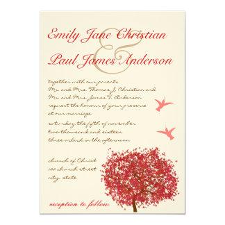 Rote Baum-Summenvogel-Hochzeits-Einladung Karte