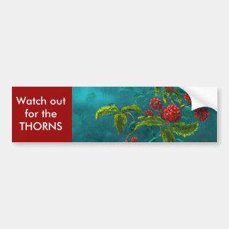 Rote Beeren im grünen Hintergrund Autoaufkleber