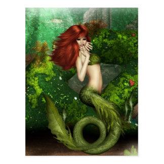 Rote behaarte Meerjungfrau-Postkarte Postkarte