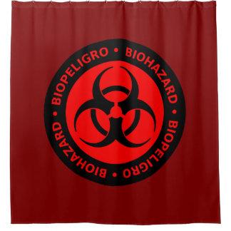Rote Biogefährdung-Warnzeichen Duschvorhang