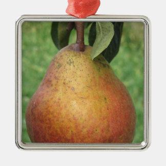 Rote Birne des Singles, die am Baum hängt Silbernes Ornament