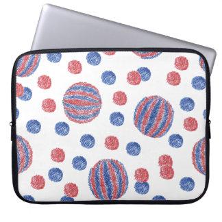 """Rote blaue Ball-Laptop-Hülse 15"""" Laptop Sleeve"""