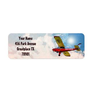 Rote blaue gelbe persönliche Flugzeuge mit Ihrem Rückversand-Adressaufkleber