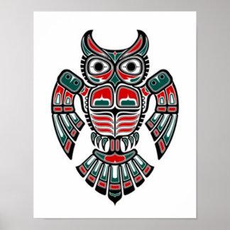 Rote blaue und schwarze Haida-Geist-Eule Plakatdruck