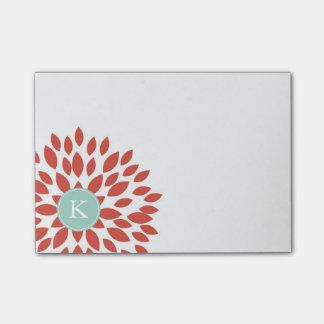 Rote blühende Blüte mit aquamarinem Monogramm Post-it Klebezettel