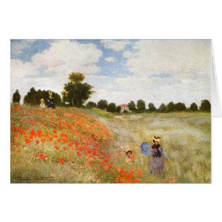 Rote blühende Mohnblumen - Claude Monet Karte