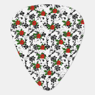 Rote Blume auf schwarzer Rolle-Kunst Plektrum