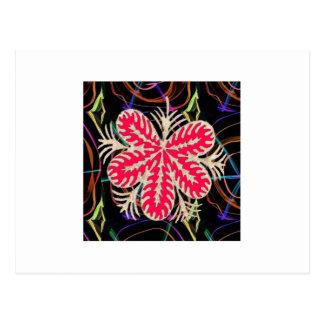 ROTE Blume Custume Schablone ADDIEREN Textbewegung Postkarten